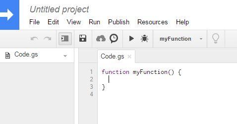 Google script editor page