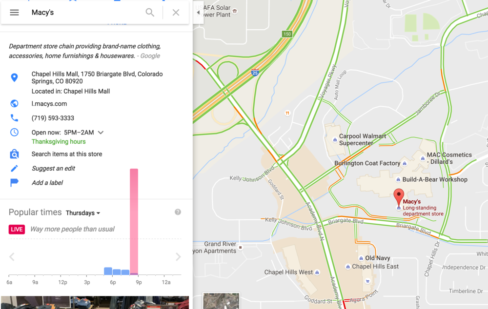 Macy's Black Friday Google Maps Real-Time Data.