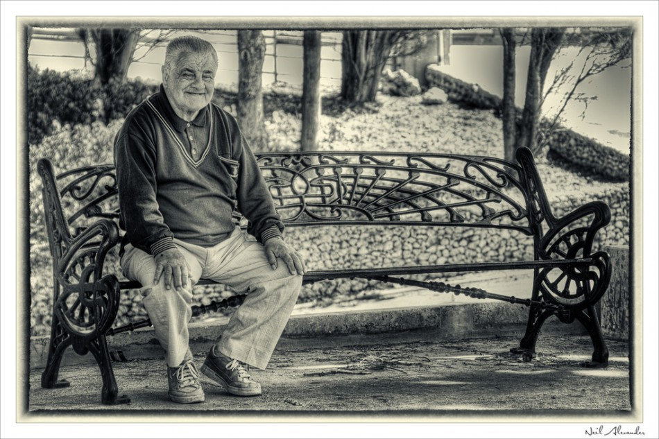 Old man on a bench (Click to view larger)