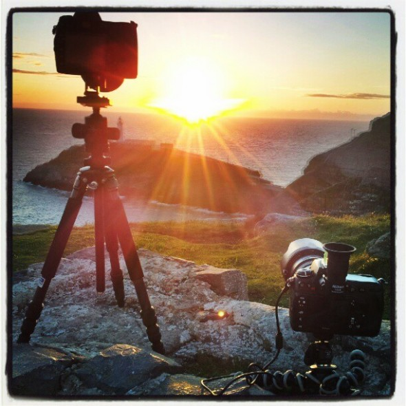 Two bodies set up waiting for sunset, South Stack Lighthouse (Instagram)