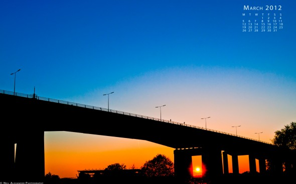 Barton Bridge, M60 Orbital Motorway, over the Manchester Ship Canal at sunset