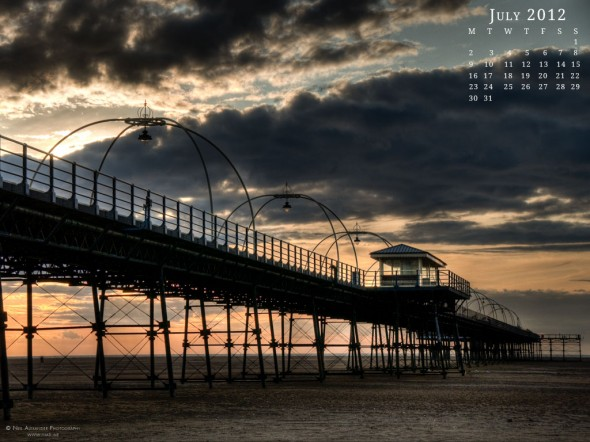 Southport pier, Lancashire at sunset - Desktop Wallpaper for July 2012