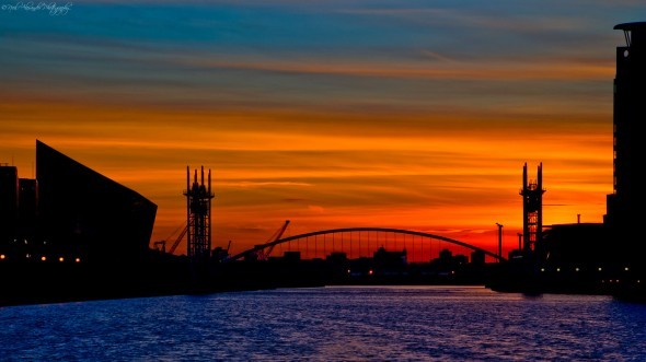 Salford Quays at sunset