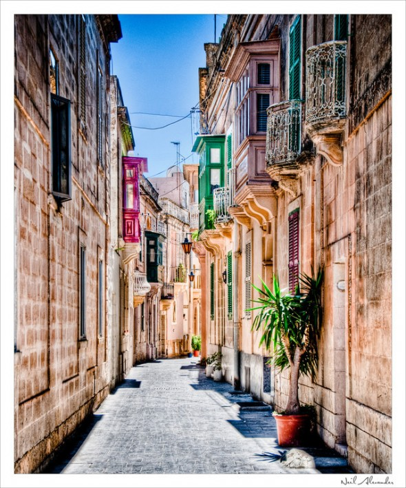 Typical street scene in Victoria on the Island of Gozo, Malta (Click for larger)