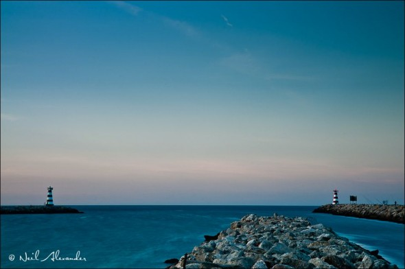 E ntrance to the harbour at Vilamoura Portugal with lighthouses either side (Click for larger)