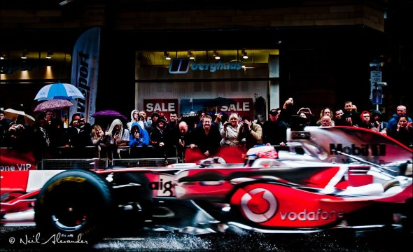 J enson Button's Vodafone McLaren Mercedes in Manchester (Click for larger)
