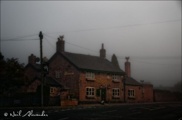 T he Greyhound, Ashley, Cheshire on a misty Autumn morning (Click for larger)