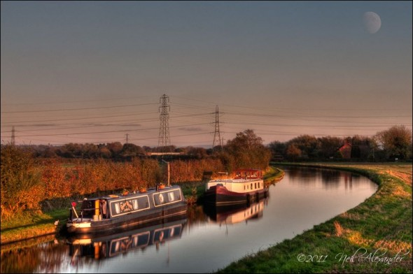 A utumn sunset over Bridgewater Canal, Lymm, Cheshire (Click for larger)
