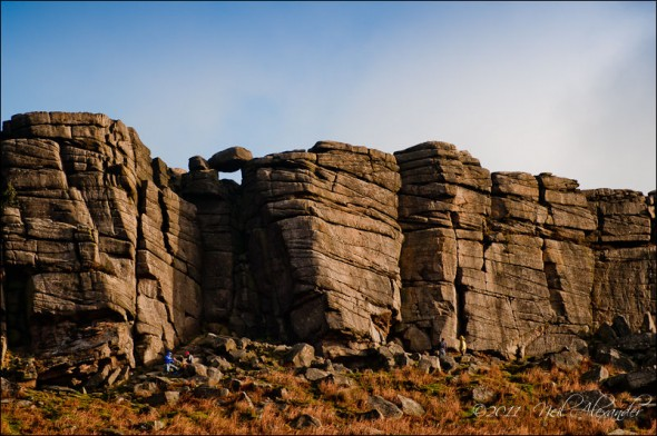Climbers at the foot of Stanage Edge, Peak District
