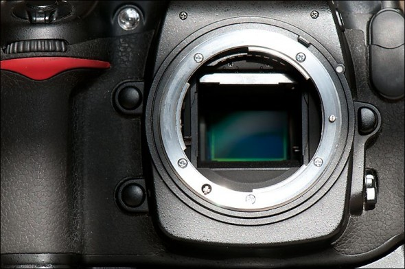 Inside of a Nikon D300 showing the exposed sensor