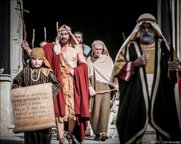 Characters from the Bible as part of the Good Friday parade in Zejtun, Malta