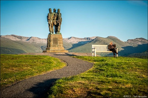 Royal Marines Commando Memorial with Ben Nevis in the background