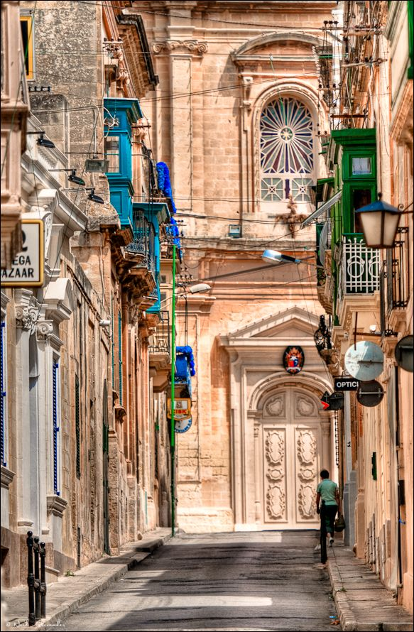 S t. Catherine's Church in the background with the back streets of Zejtun in the foreground, Malta (Click for larger)
