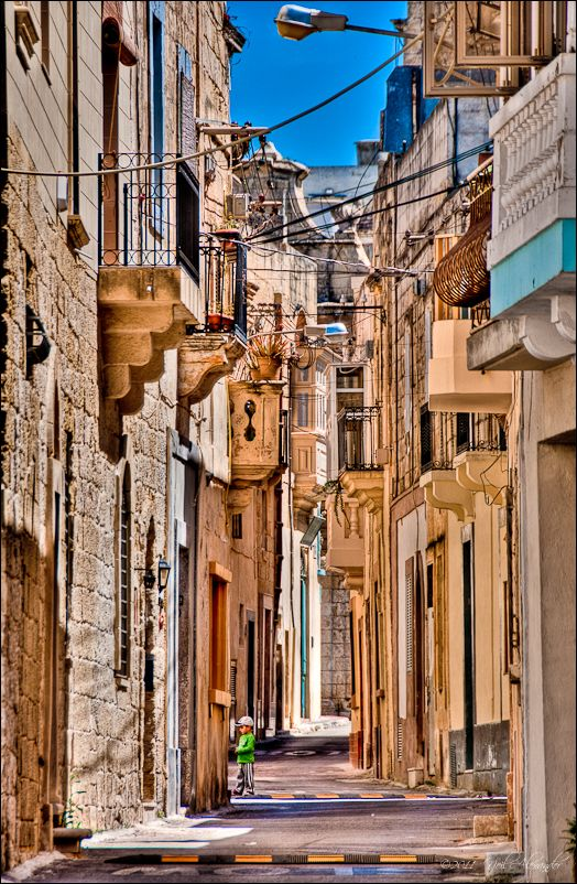 Typical street scene in Victoria on the Island of Gozo, Malta