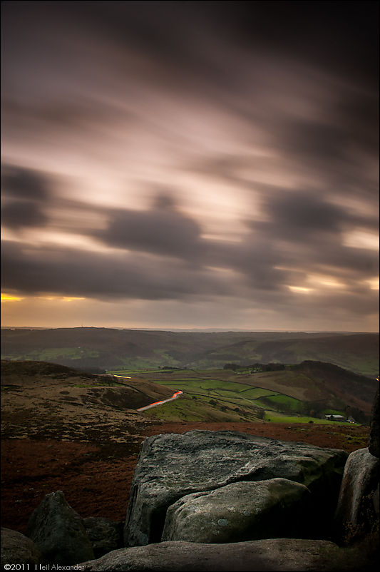 Sunset from Over Owler Tor, High Peaks using neutral density filters by Neil Alexander