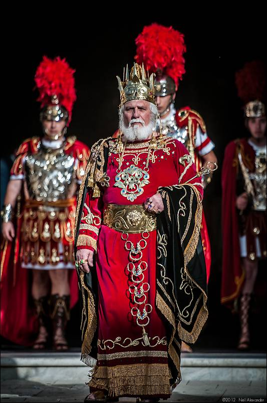 Herod - The Gospels say that Pontius Pilate sent Christ to Herod for him to judge. In the Zejtun Procession the figure of Herod escorted by a cohort of soldiers walks in front of the Statue of the Scourging at the Pillar
