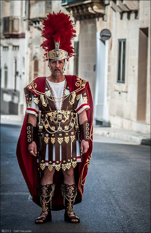 A Roman centurion on his way to the parade