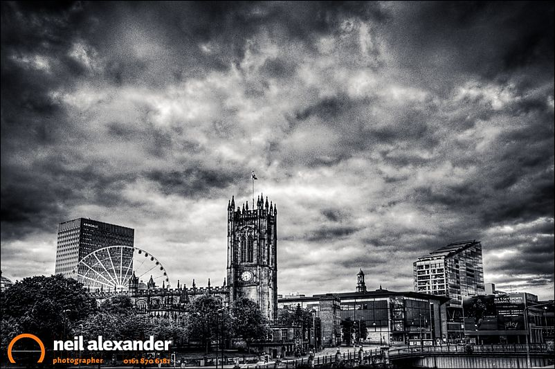 View over Manchester with the Cathedral in the foreground