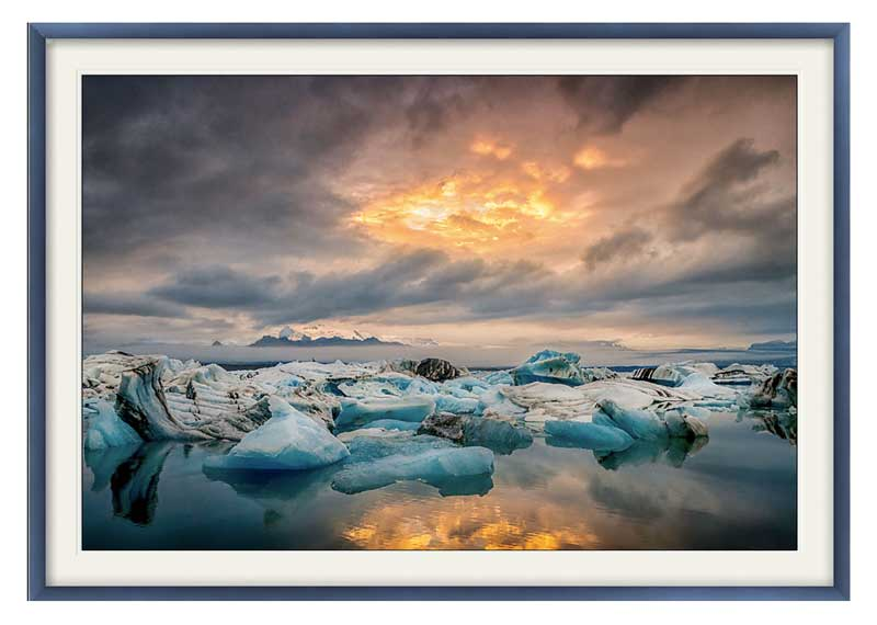 The glacial lagoon at Jökulsárlón, South East Iceland. Framed and ready to hang.