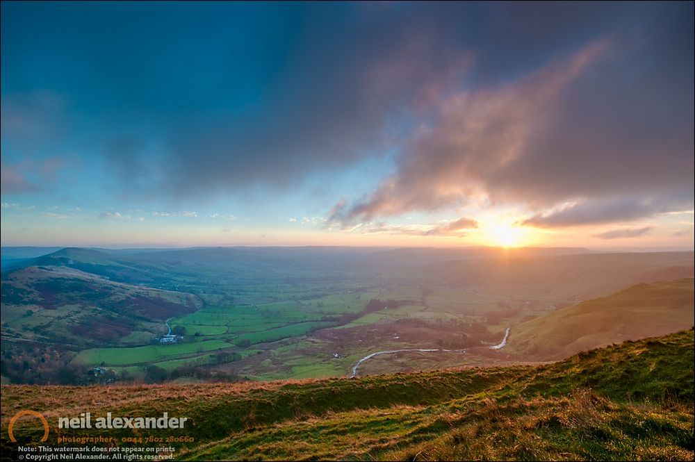Sunrise over Castleton, High Peaks UK from Mam Tor