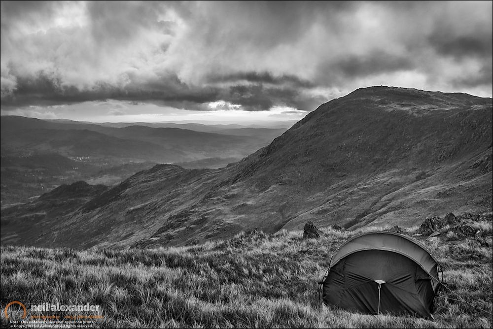 My tent pitched at Hell Gill Pike