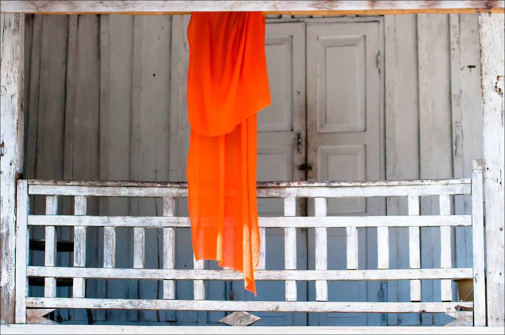 Monk's robe hanging out to dry, Luang Prabang, Laos
