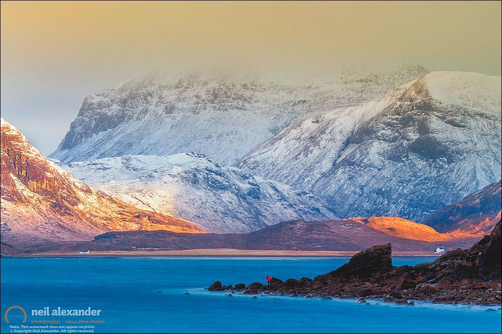 The Cuillin Hills in the mist from the shores of Loch Scavaig, Elgol, Skye