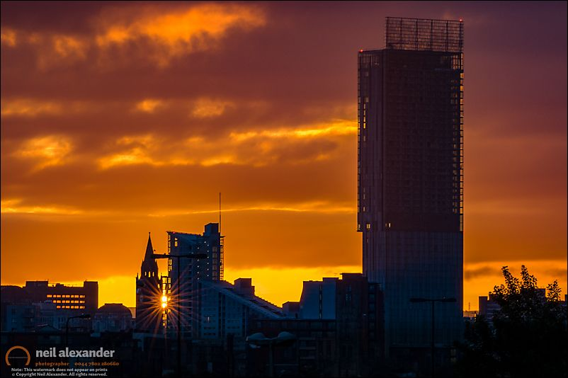 Manchester Skyline At Dawn