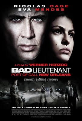 "The original ""Bad Lieutenant"" film, despite a courageously raw performance from Harvey Keitel, was the kind of grubby sleazefest that made you want to take a shower as soon as the credits rolled at the end. Flashforward 18 years and we have ""Bad Lieutenant: Port Of Call - New Orleans"", supposedly a remake of the 1992 movie.  Nicolas Cage plays recently promoted New Orleans' cop Terence McDonagh, who, along with partner Val Kilmer, is trying to locate those behind the execution-style murder of an entire family. His investigation takes him deep into the city's underworld, a journey which accelerates his own addiction to cocaine and exposes him, his friends and his family to violent retribution. Apart from sharing the character concept of a corrupt police lieutenant, this is in no way a remake, not even a loose one - the location, storyline and cast of supporting characters are completely different. What writer William M Finkelstein and director Werner Herzog have concocted is a cinematic jambalaya, with startling and surreal imagery bleeding from the storyline, as Cage's grip on reality begins to weaken. There's a terrific cast - Eva Mendes is great as Cage's hooker girlfriend, whilst there's sterling support from the likes of Fairuza Balk, Brad Dourif and Vondie Curtis-Hall. The setting of post-Katrina New Orleans is a masterstroke - a dark, brooding backdrop to the film's increasingly eccentric events and unexpected conclusion.  However, the main attraction here is Nicolas Cage. After many years' exile in the Disney/Bruckheimer wilderness, Cage is back and on top form. What's striking is how surprisingly restrained his performance is - yes, there are occasions when he goes completely off-the-chart nuts onscreen but these are isolated moments. You can tell that Cage has matured as an actor since his earlier roles and that he's also enjoying the challenges that ""Bad Lieutenant"" brings him.  At times bizarre, but never less than entertaining, ""Bad Lieutenant: Port Of Call - New Orleans"" is a must-see."