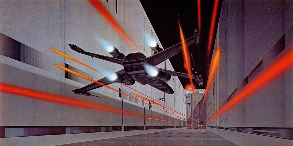 Ralph McQuarrie's iconic artwork for the X-Wing run down the Death Star trench.