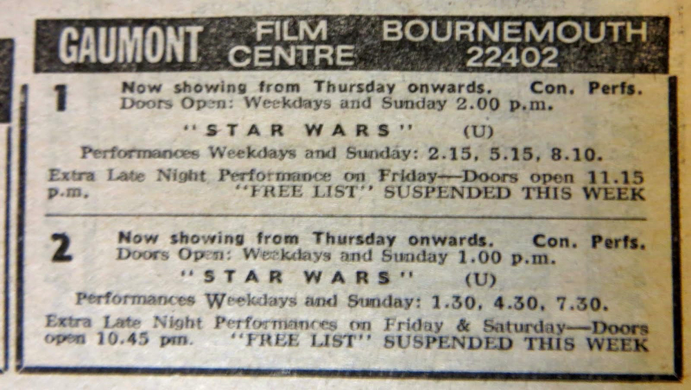 The Gaumont cinema's ad in a February 1978 edition of the Bournemouth Evening Echo