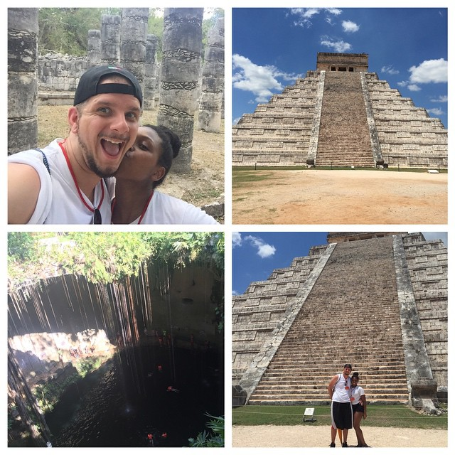 Visited Chitchen Itza, a Mayan archeological site and one of the seven wonders of the modern world. Afterwards took a swim in Cenote Ik Kil a beautiful underground sinkhole. Loving Mexico with the boo @jkauff7986 #secretsplayamujeres #mexico #cancun #chitchenitza #vacation #yucatan
