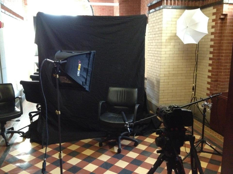 Interview setup for iZone360 interview with the Chancellor of NYC public schools, Dennis Walcott.