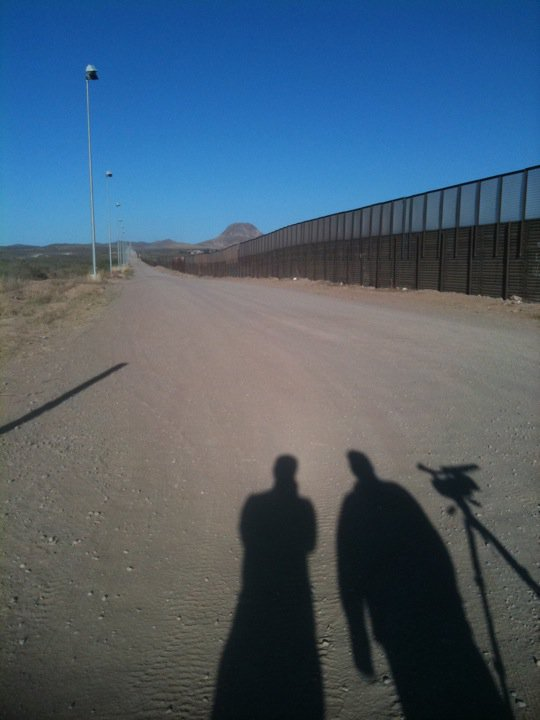 Myself (left) and Thomas Starich (right) at the US/MExico border, Douglas Arizona