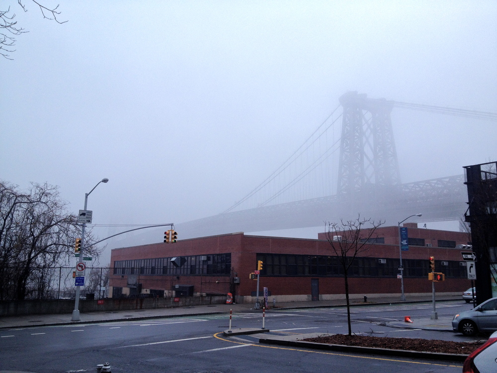 Williamsburg bridge in fog, from PF Pictures office.