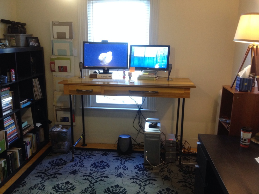 The finished After standing desk.  Wire management still needs to be figured out.