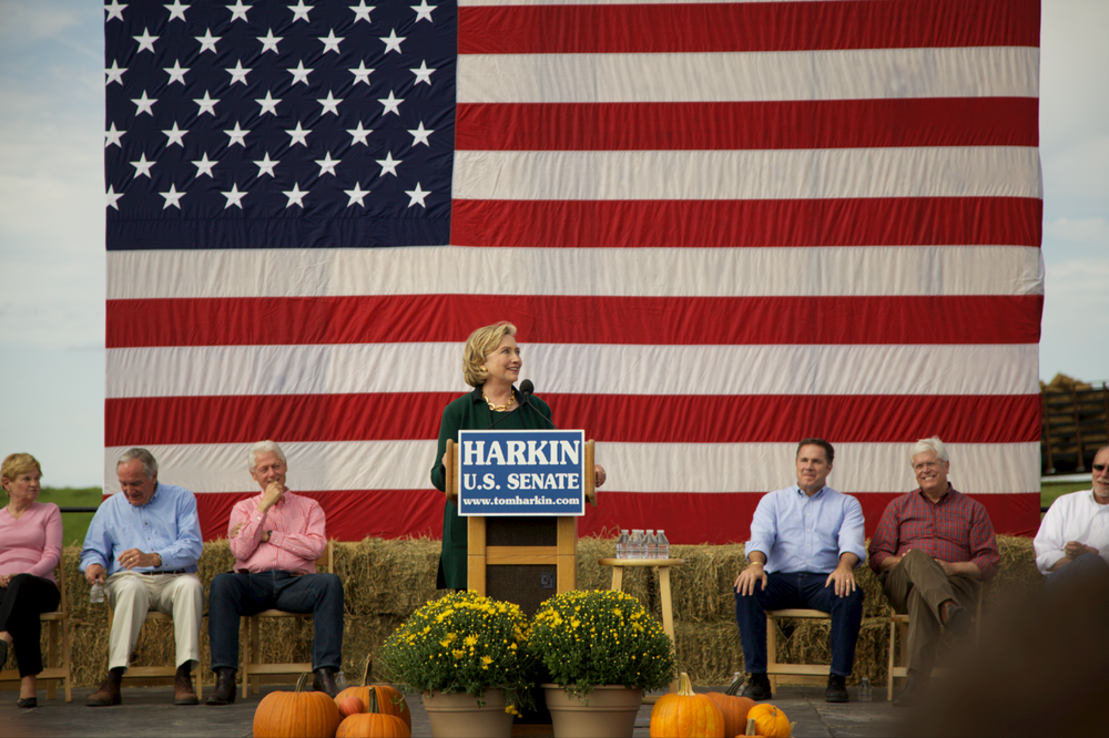 The reason for all the hubbub.  Hillary speaking at the (last) annual Harkin Steak Fry outside Des Moines, Iowa.