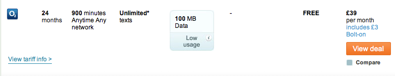 iPhone 5 tariff with 100MB of data