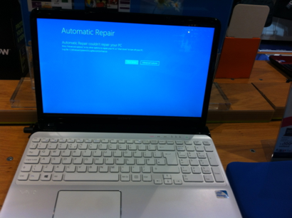 Who wants to buy a laptop with a blue error message?