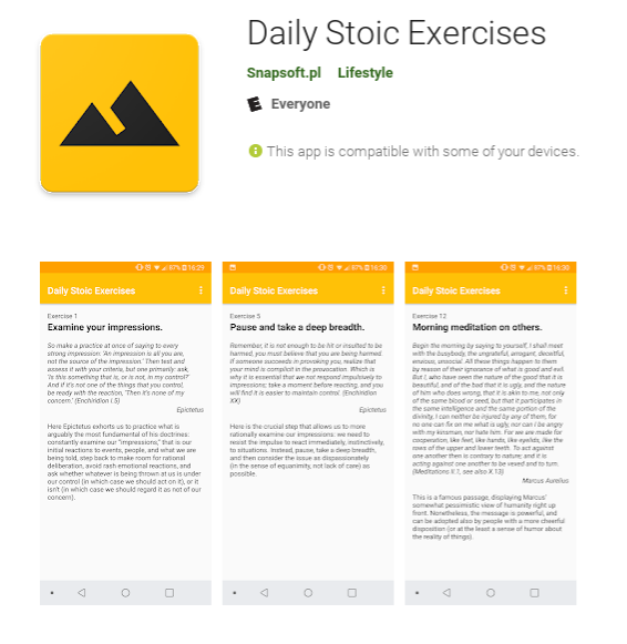 A screenshot of the description page for the Daily Stoic Exercises app.