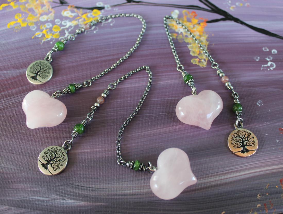 Rose Quartz Heart of Healing Dowsing Pendulum in Sterling — Peridot Daisy  Wire & Gemstone Jewelry