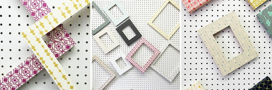 Samples of frames hanging to dry