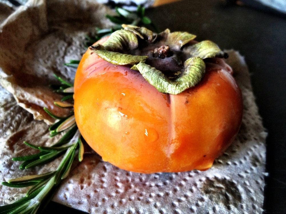 Fuyu persimmon and rosemary