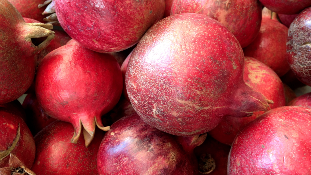 """pomegranate"" comes from the Latin ""malum granatum,"" or ""seeded apple"""