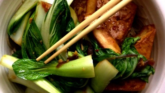 baked fox-ear tofu and ginger bok choy over soba noodles