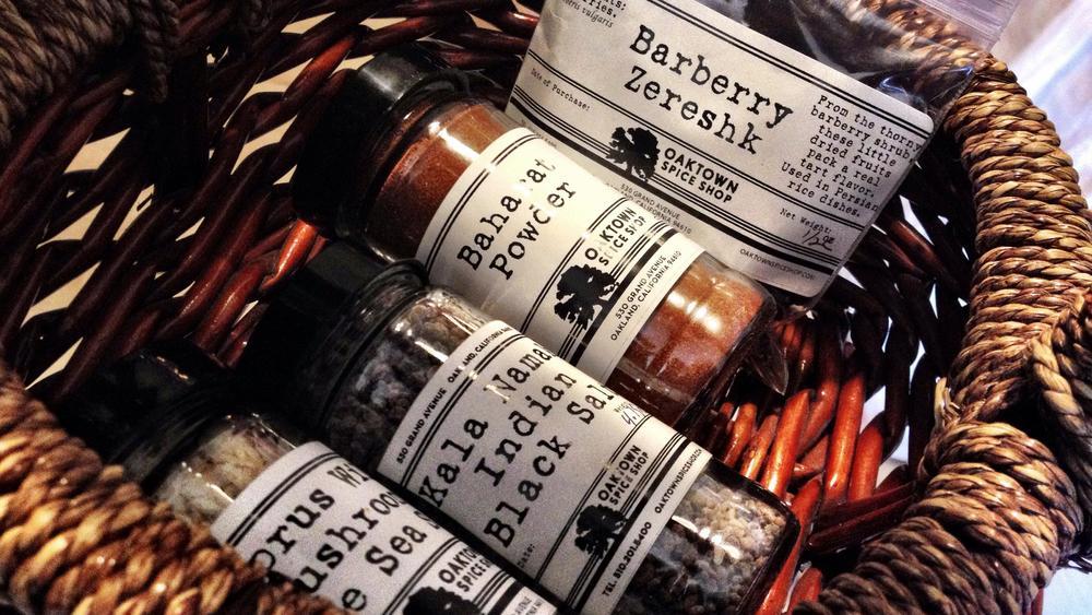 the final selection: Cyprus Wild Mushroom Sea Salt, Kala Namak,Baharat, Barberries (Zereshk)