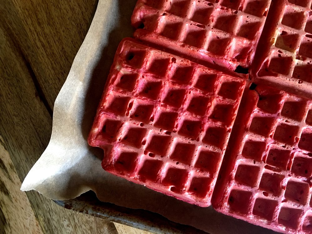 Calico citrus beet ginger waffles, cooling