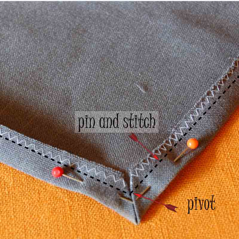 6.  Pin and stitch here