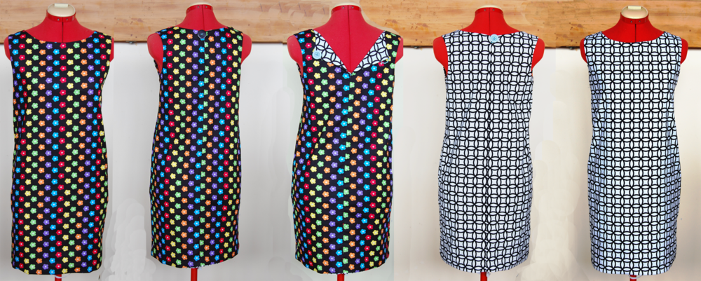 Ahh, the wonders of photoshop.  Here's front/ back/ inside/ outside of just one Mary Q dress!