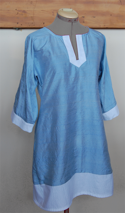 Made this caftan in thrift shop finds - a sky blue silk and a white seersucker fabric.